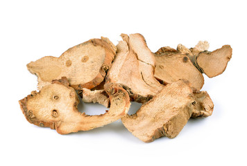 Dried Galangal on white background