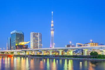 View of Tokyo Skytree landmark and Sumida river at night.