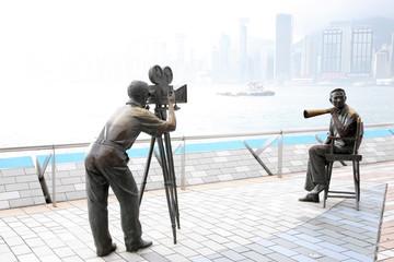 香港にある映画撮影風景の銅像