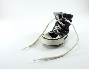 Jean fabric dog shoe with white leash