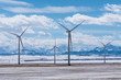 Wind Turbines with Rocky Mountains in the Winter