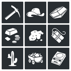 Gold mining Vector Icons Set