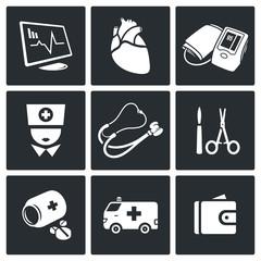 Emergency Medicine Vector Icons Set