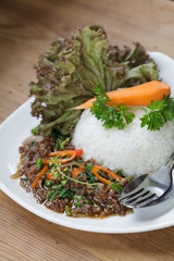 thai spicy food basil pork fried rice recipe