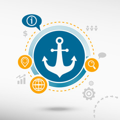 Anchor icon and creative design elements