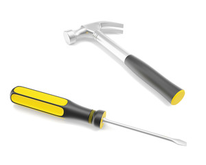 Tools for home, a screwdriver and a hammer isolated on a white