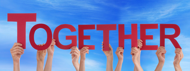People Hold Red Straight Word Together Blue Sky