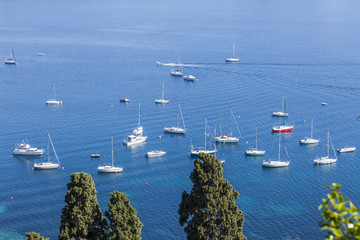 The top view on a sea bay and yachts at the coast