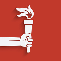 hand with torch symbol
