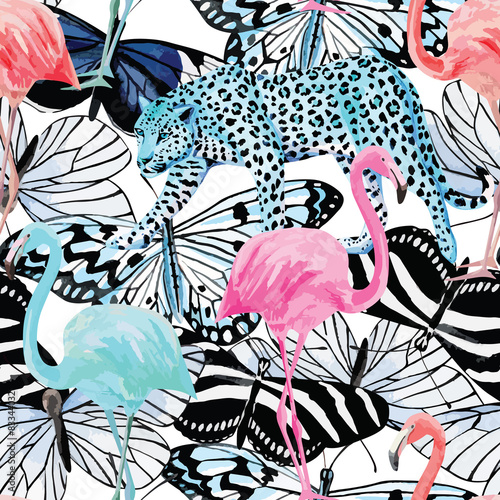 Cotton fabric flamingo, leopard and butterflies watercolor pattern