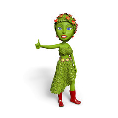 Green Girl giving a thumbs up