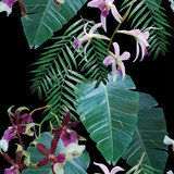Fototapety orchids exotic tropical pattern
