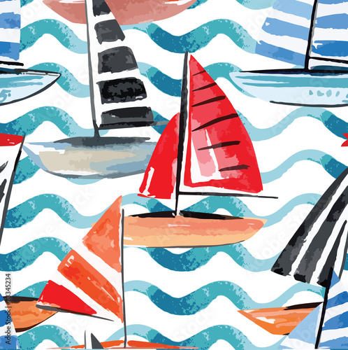 sailing boats watercolor seamless background - 83345234