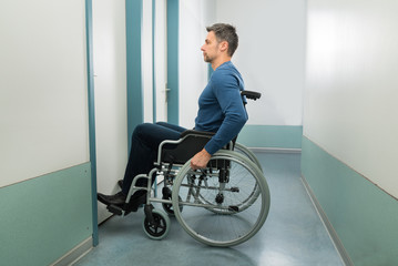 Disabled Man Entering In Room