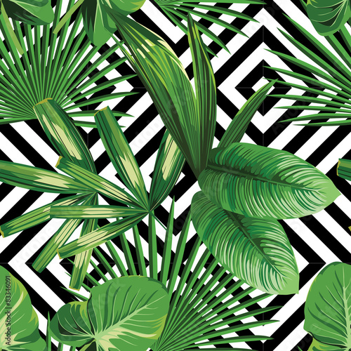 tropical palm leaves pattern, geometric background © berry2046