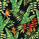 exotic flowers and palm leaves pattern