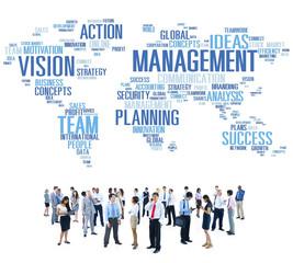 Global Management Training Vision World Map Concept