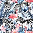 Obrazy na płótnie, fototapety, zdjęcia, fotoobrazy drukowane : watercolor flamingo, zebra and palm leaves tropical pattern