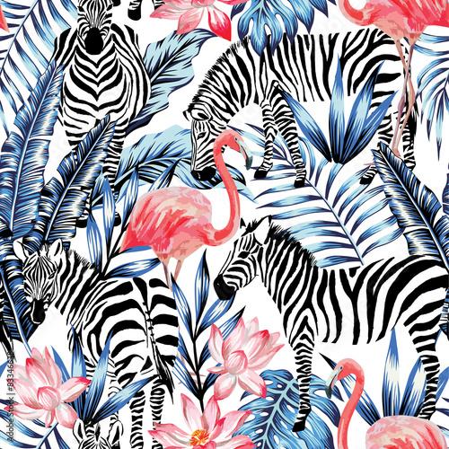 Fototapeta watercolor flamingo, zebra and palm leaves tropical pattern