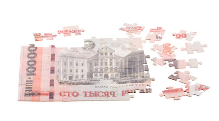 unfinished puzzle from Byelorussian roubles banknote