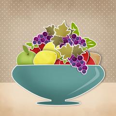 Fruits cartoon background. Vase with fruits. Retro