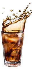 Cola glass with ice cubes and drink splash.