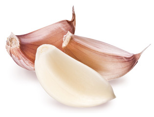 Peeled garlic clove isolated on a white background.