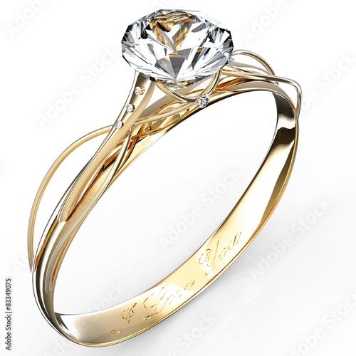 fototapeta na ścianę Złoty pierścionek z brylantem samodzielnie na biały