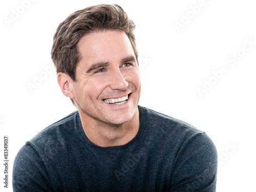 Mûr bel homme grand sourire portrait Poster