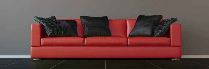 Modernes rotes Sofa mit Kissen