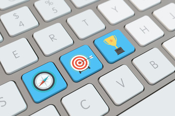 Symbole für Business Erfolg auf Tastatur