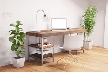 Home Office mit Laptop und Schreibtisch