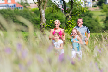 Family running for better fitness in summer