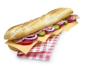 bacon cheese submarine sandwich with clipping path