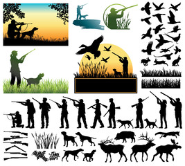 Hunting silhouettes and labels vector set