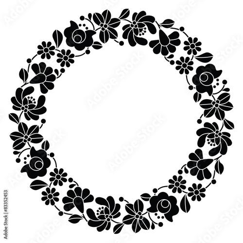 Fototapeta Kalocsai black embroidery in circle - Hungarian folk pattern