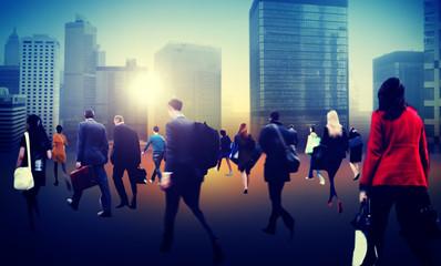 Commuter Business District Walking Crowd Cityscape Concept