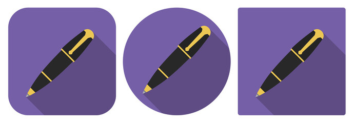 Vector illustration. Icon of fountain pen in flat design