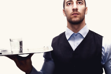 waiter with tray and drink