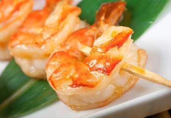Japanese skewered  royal prawn