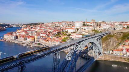 Porto subway trains over the Dom Luis I bridge. Porto, Portugal