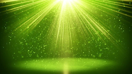 green light beams and particles loopable background 4k