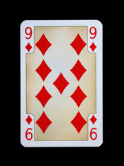 Spielkarten - Gothia - Karo Neun aus der Ritterzeit