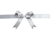 Fototapety Silver ribbon with bow on white background