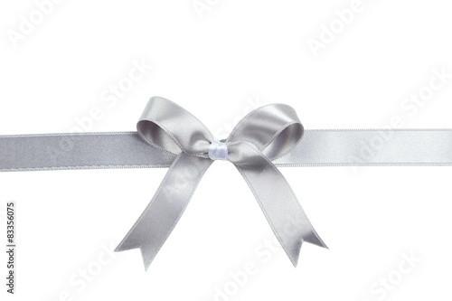 Silver ribbon with bow on white background Poster