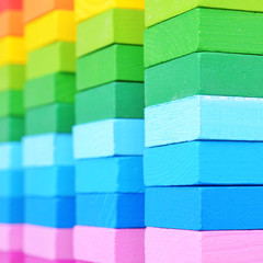 background of colorful wooden bricks