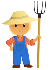 Cartoon Farmer Character with pitchfork