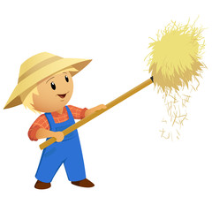 Cartoon Farmer hay with pitchfork