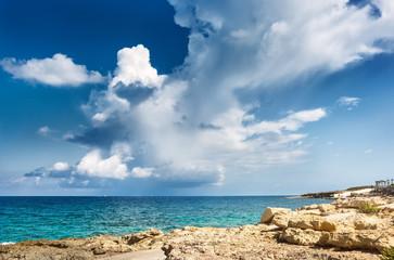 Landscape with scenic clouds on the sea. Malta
