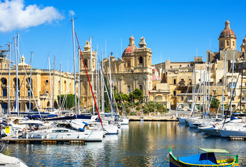 View of Vittoriosa Harbor with St. Lawrence's Church. Malta